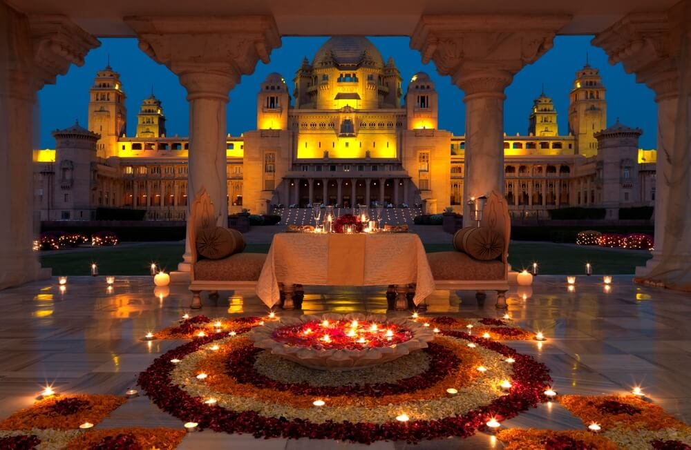 beautifully decorated Udaipur Palace