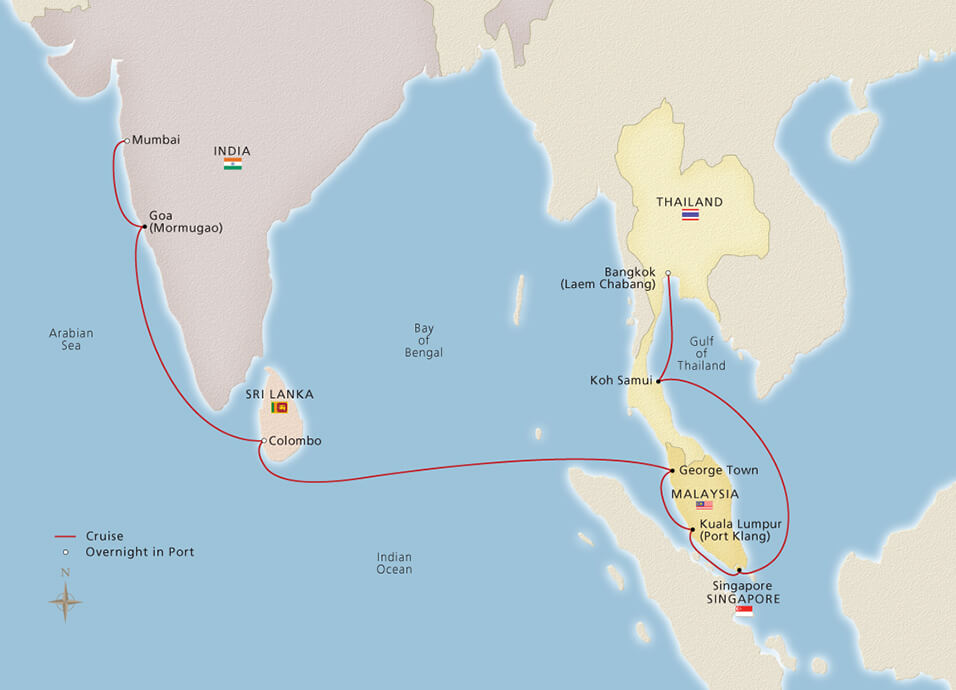 map of Bangkok to Mumbai cruise