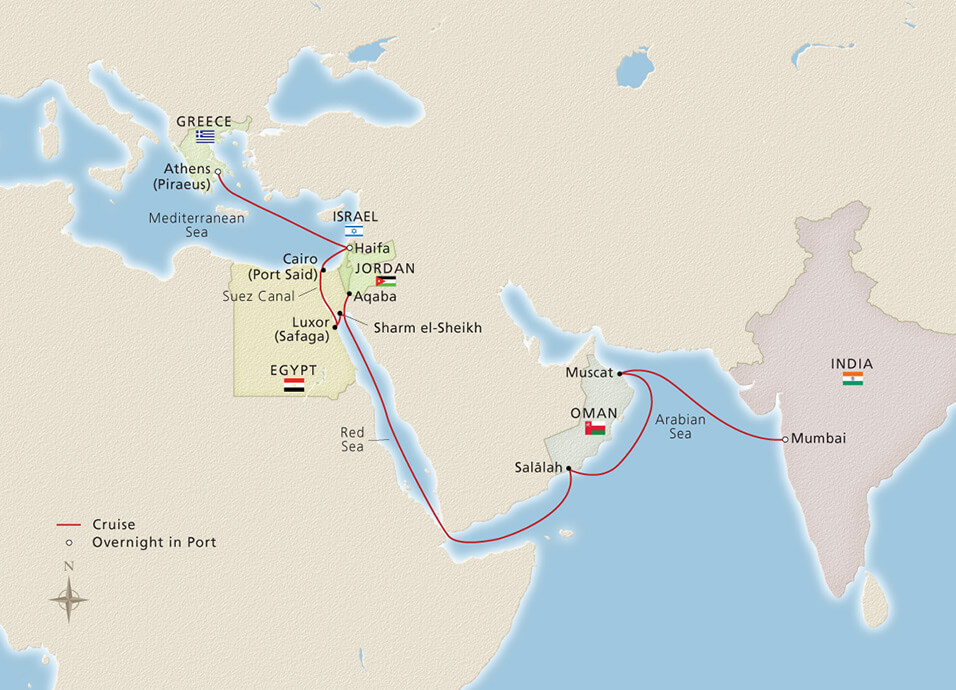 athens to Mumbai cruise route