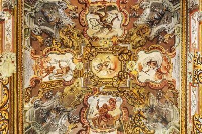 Frescoes at the castle turned luxury hotel in Italy