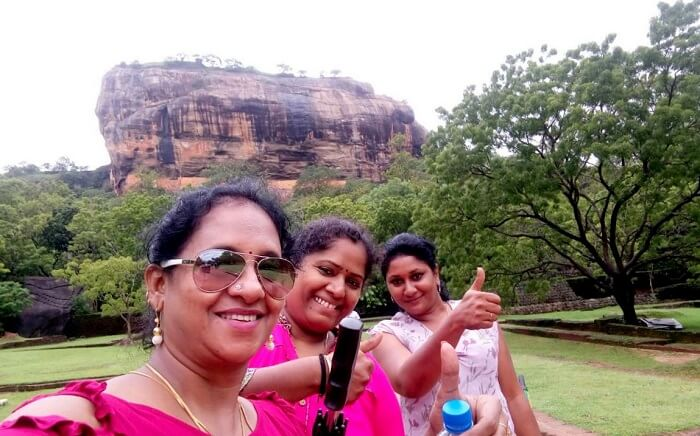 posing in front of sigiriya