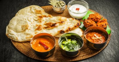 indian food in a thali