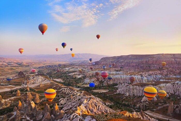 Go on a hot air balloon ride in Cappadocia, Turkey