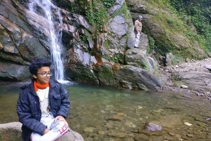 Shantanu northeast trip- posing at Khangchendzonga waterfall
