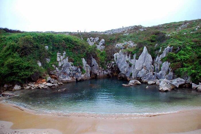 Playa De Gulpiyuri beach in spain