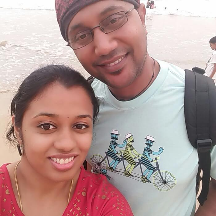 Rachna and her husband in Sri Lanka