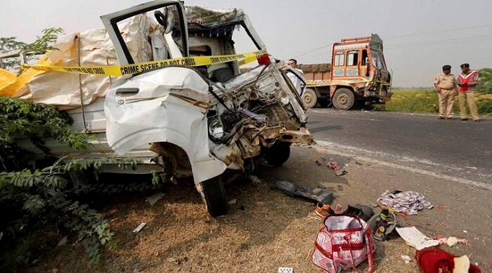 Wreckage of a mini truck in Rajkot