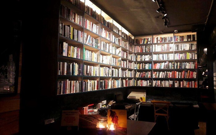 a book cafe packed with books