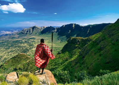 Man at The great rift valley in Kenya