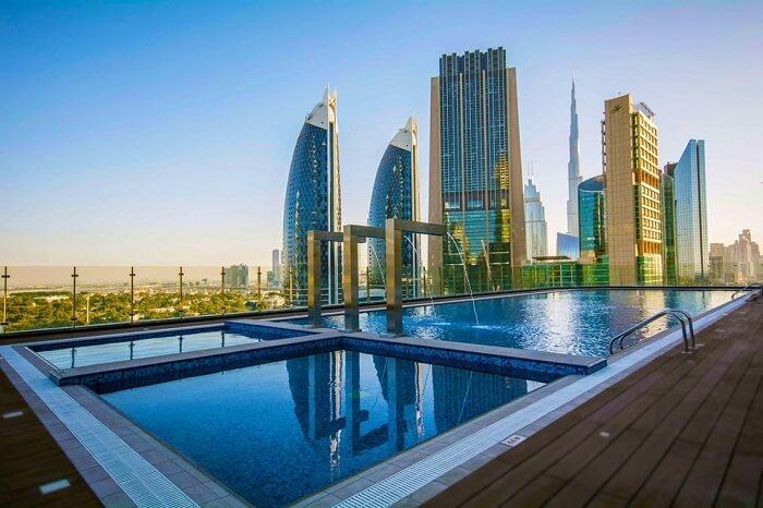 Rooftop pool at Gevoa Hotel Dubai