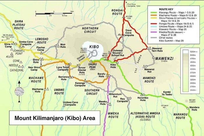 routes to kilimanjaro peak