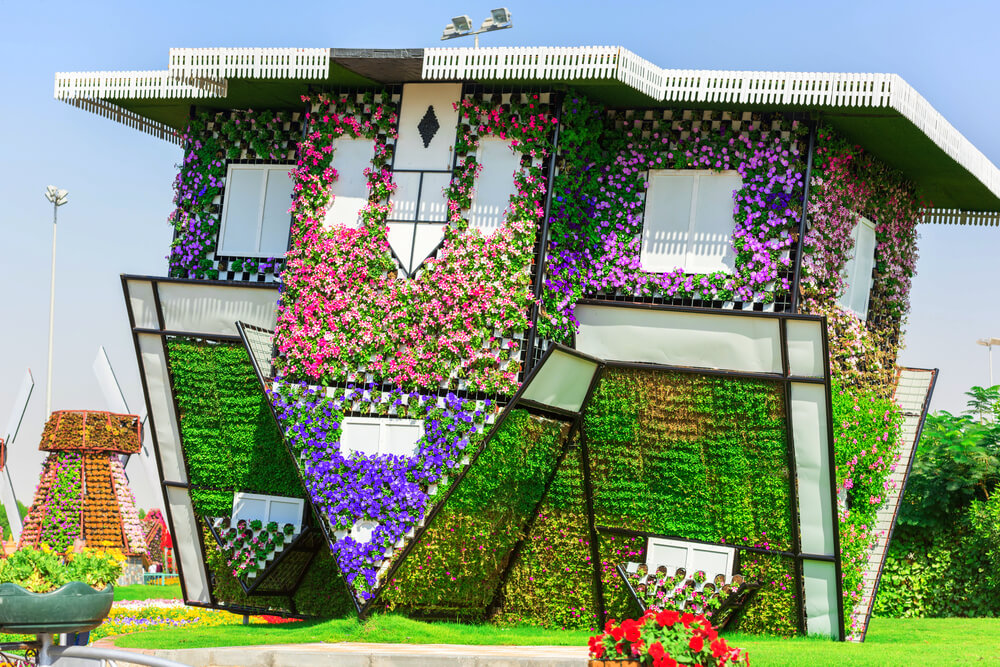 upside down floral house in Dubai Miracle Garden