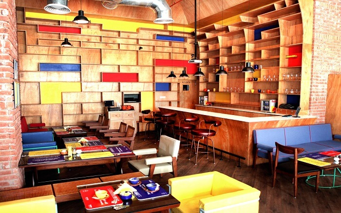the colourful decor of a cafe