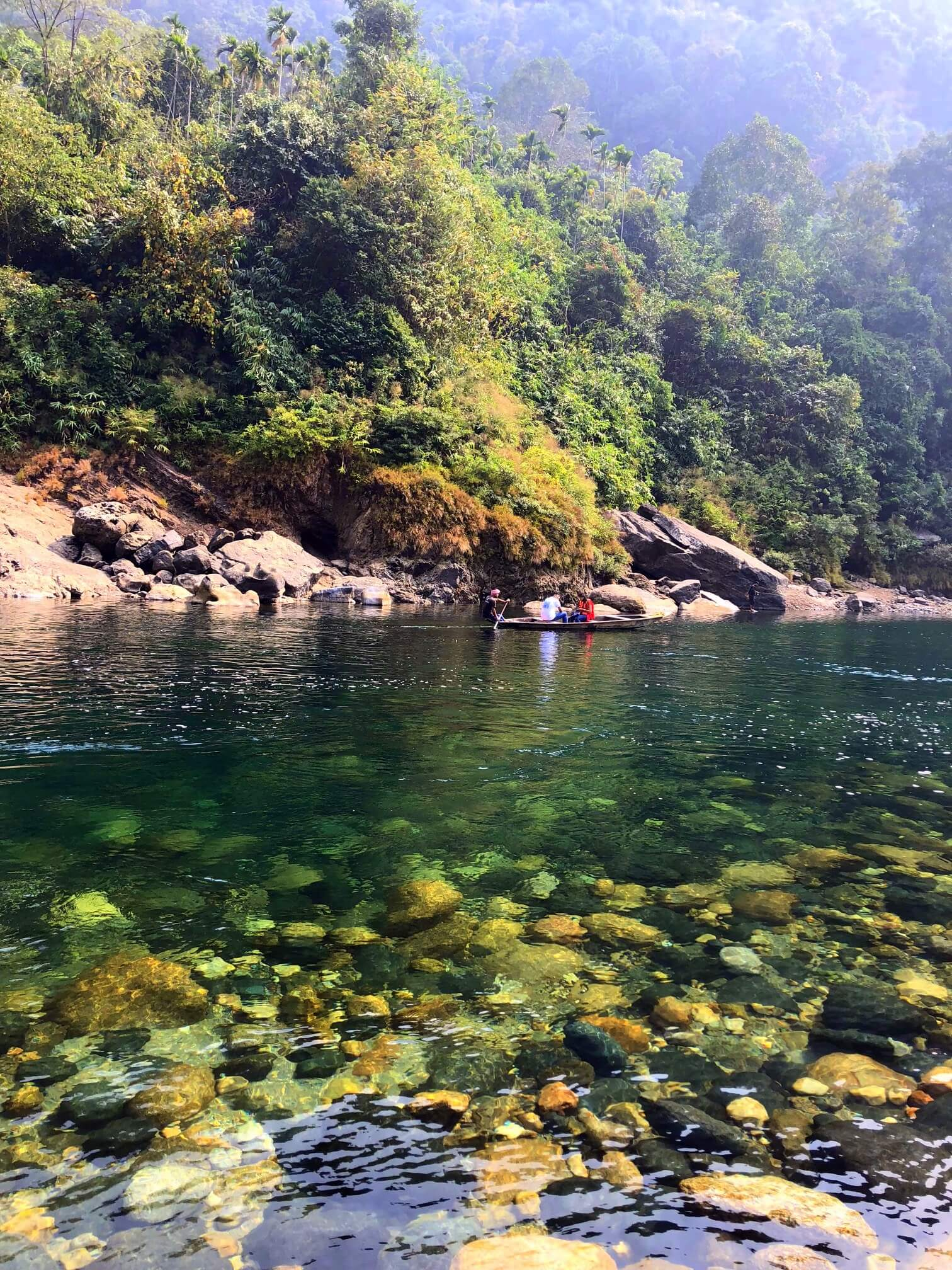 Beautiful clear water dwaki , India Bangladesh border