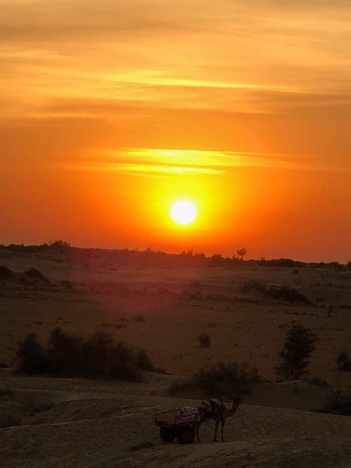 sunset of jaisalmer
