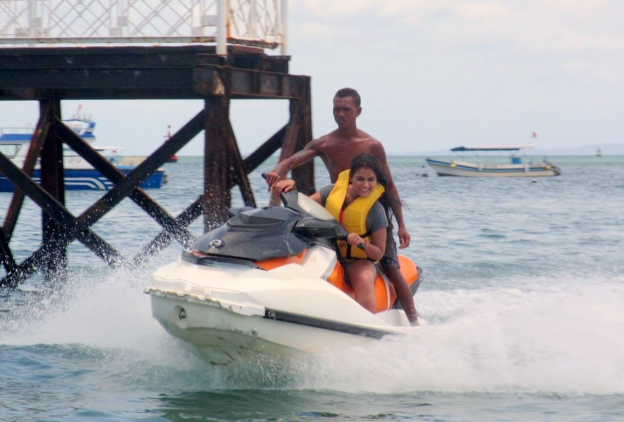 tushar honeymoon trip to Bali: tushar wife jet ski