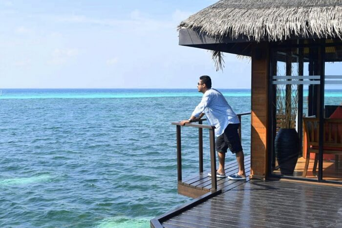 sushmita maldives honeymoon: husband at ocean villa