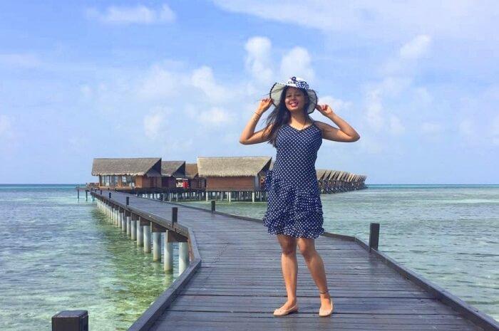 sushmita maldives honeymoon: posing near ocean villa