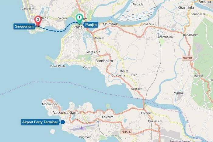 Panaji to Sinquerim ferry route