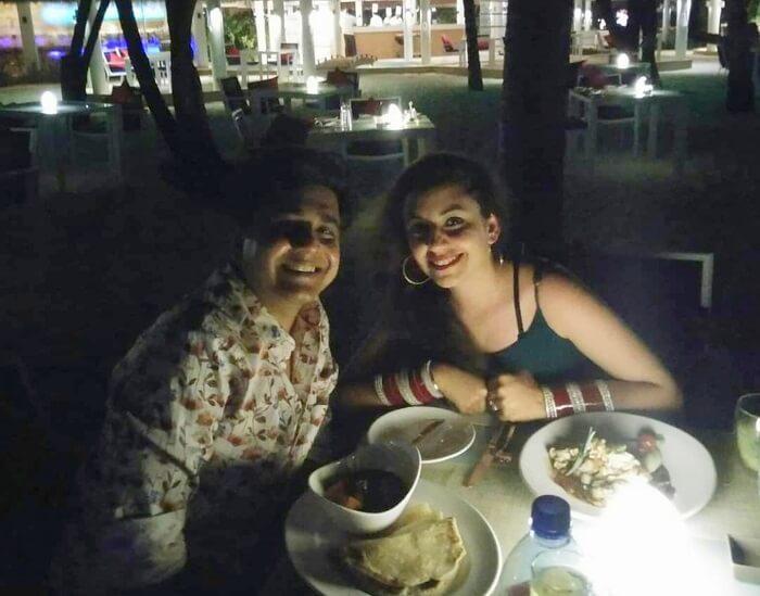 ankit wadhwa maldives honeymoon: candlelight dinner