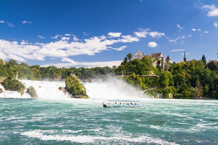 Boat cruise amid Rhine Falls