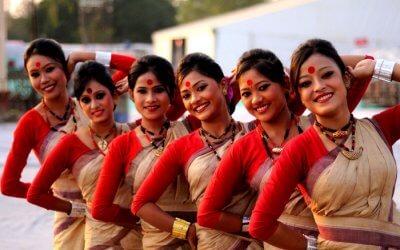 Women celebrating Bihu in Assam