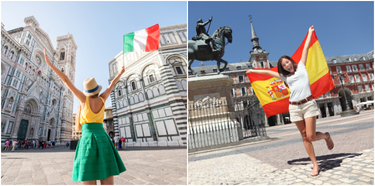 girls holding flags of italy and spain