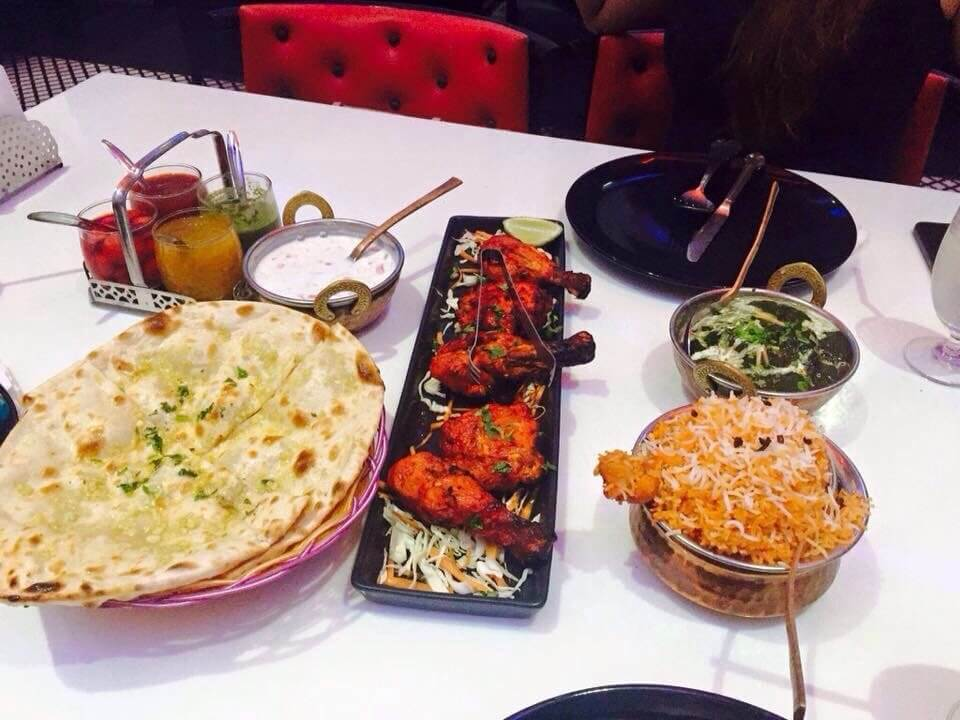 Indian food on table in a restaurant