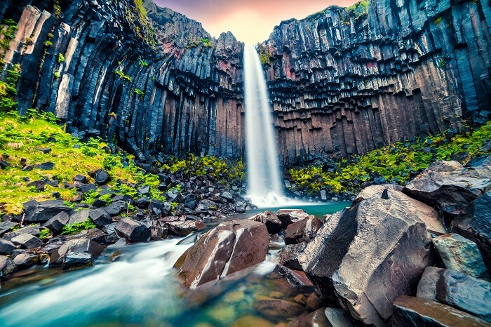 iceland basalt waterfalls