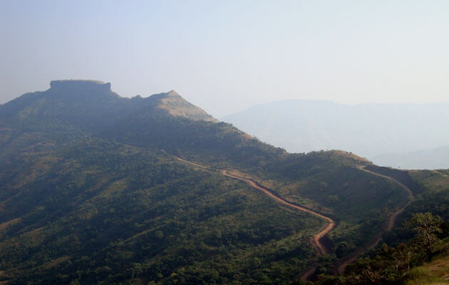 Kamalgad fort on the top of the mountain