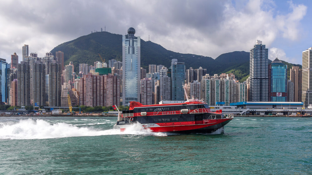 red ferry in hong kong