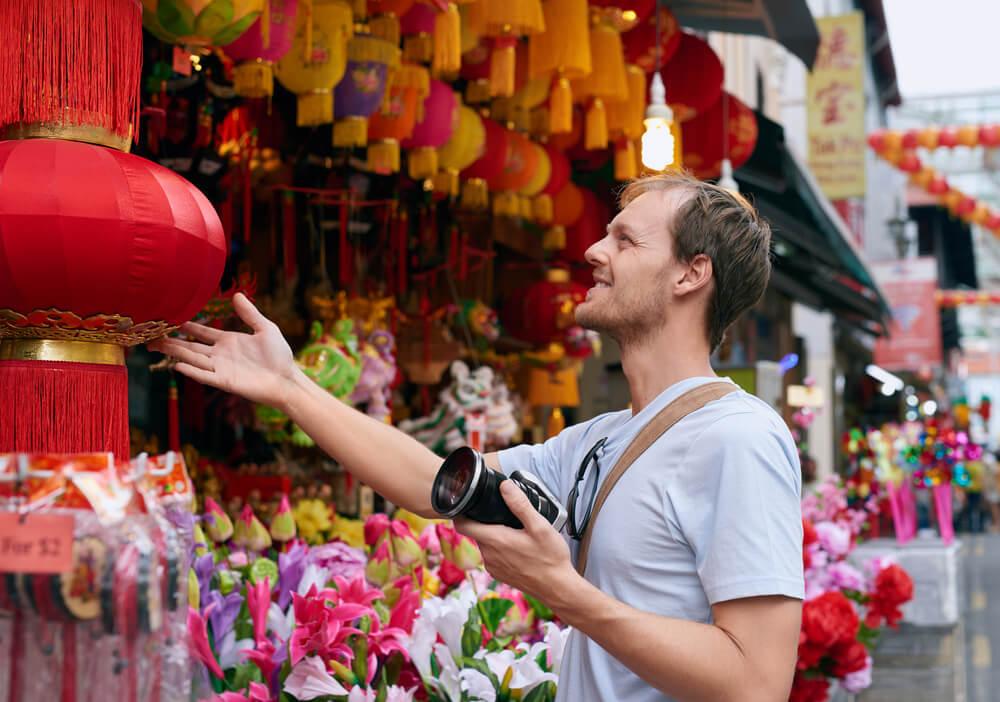a man shopping in hong kong