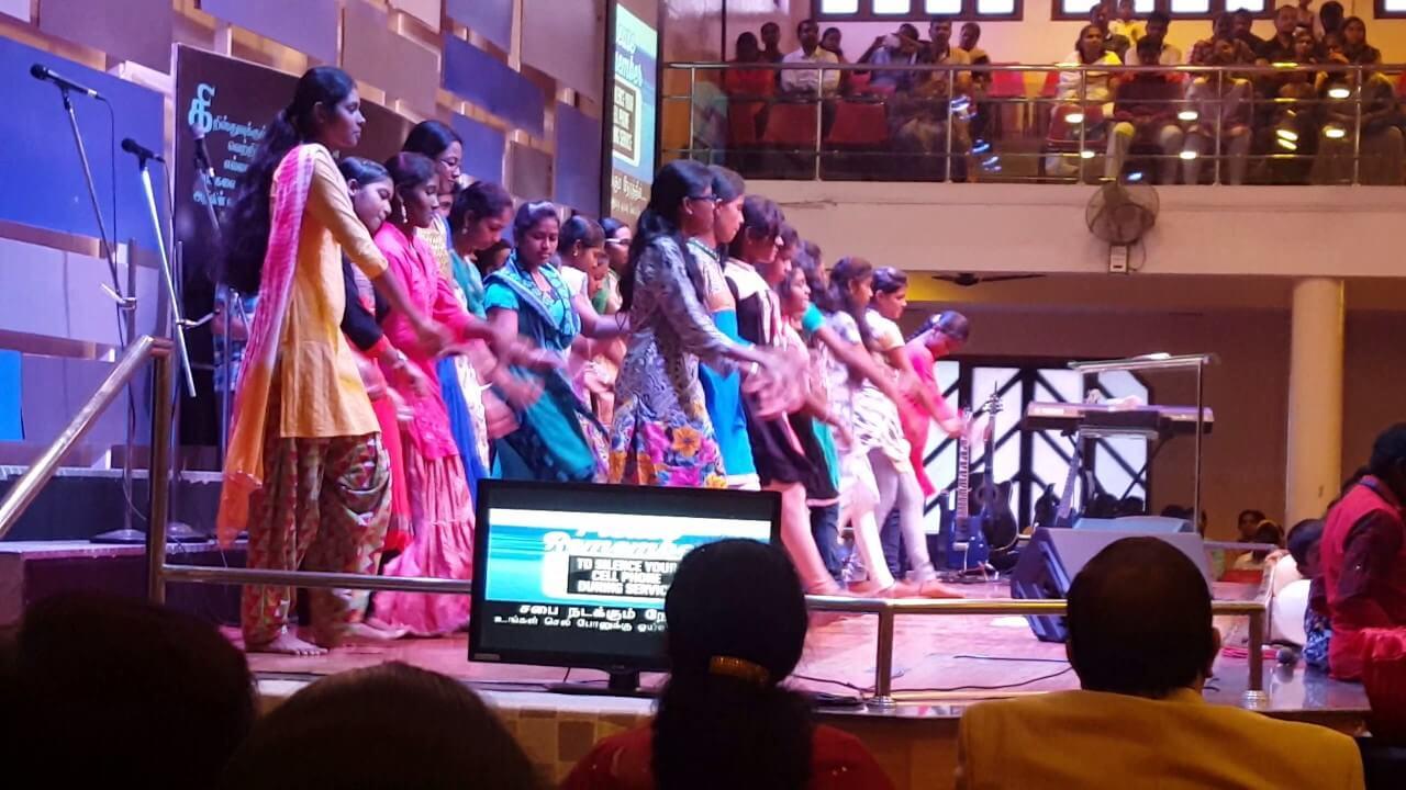 a choir singing in a church