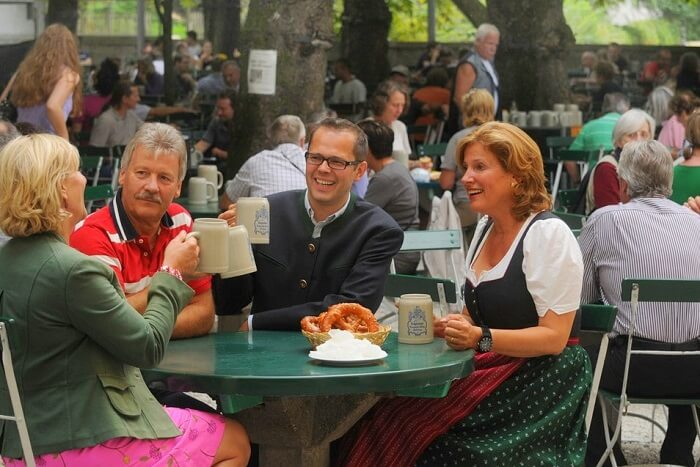 Chug beer in the Mullner Brau Beer garden salzburg
