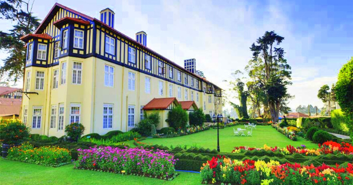 a beautiful hotel with garden