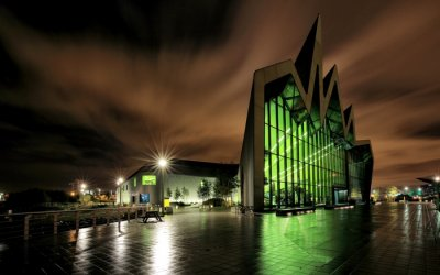 The Riverside Museum in Glasgow at night