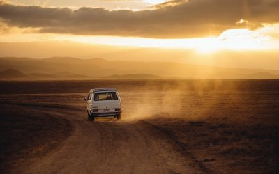 A vehicle moving on an offbeat road