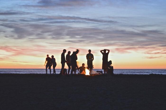 campfire at a beach