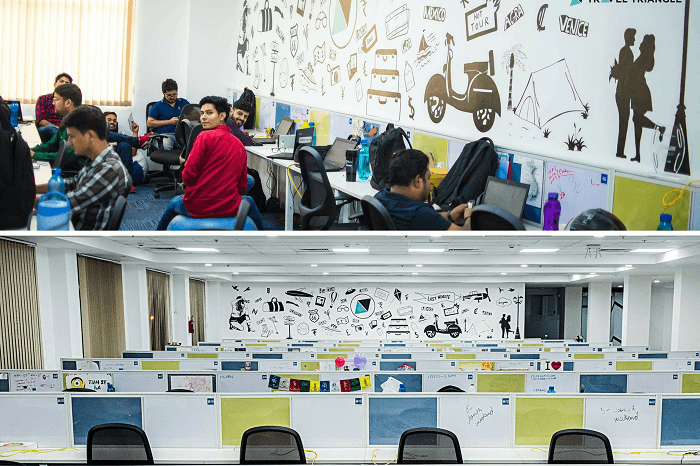 The colorful new office space of TravelTriangle