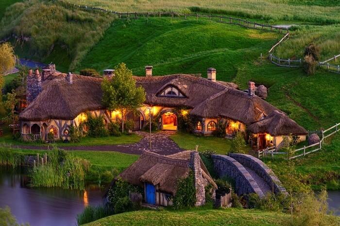 the well lit hobbiton village