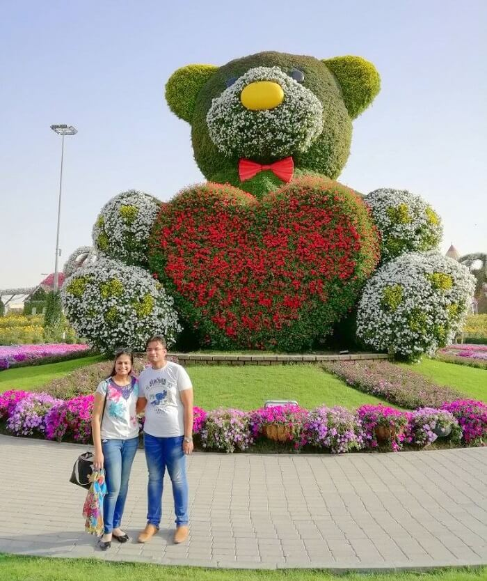 ashish singhal dubai honeymoon trip: miracle garden