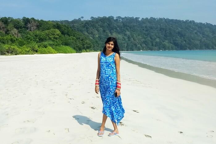 Anurag's wife enjoying at the beach