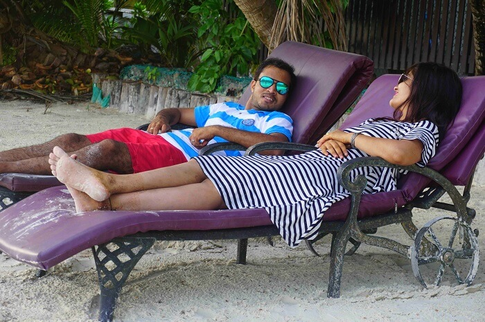 tushar seychelles honeymoon trip: resting on a recliner