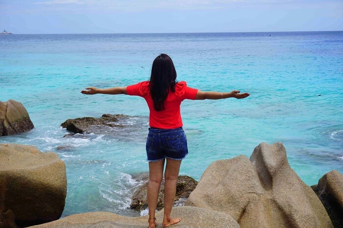 tushar seychelles honeymoon trip: la digue beach relaxing