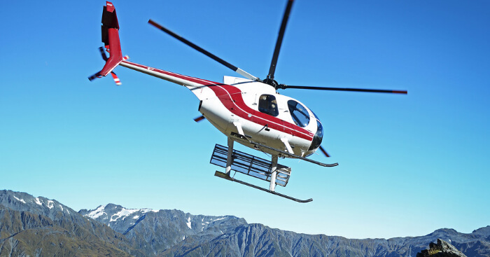 a heli taxi in mountains