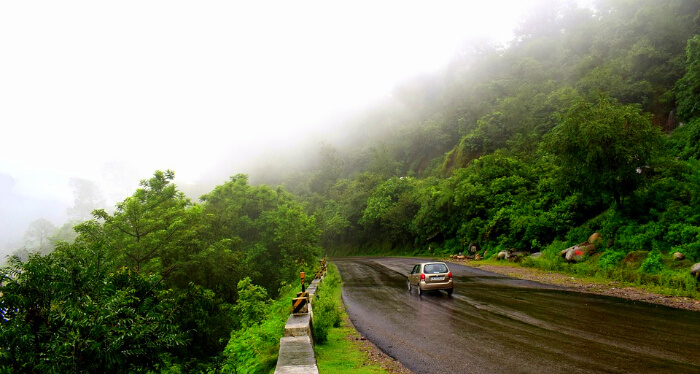 mist covered Pachmarhi