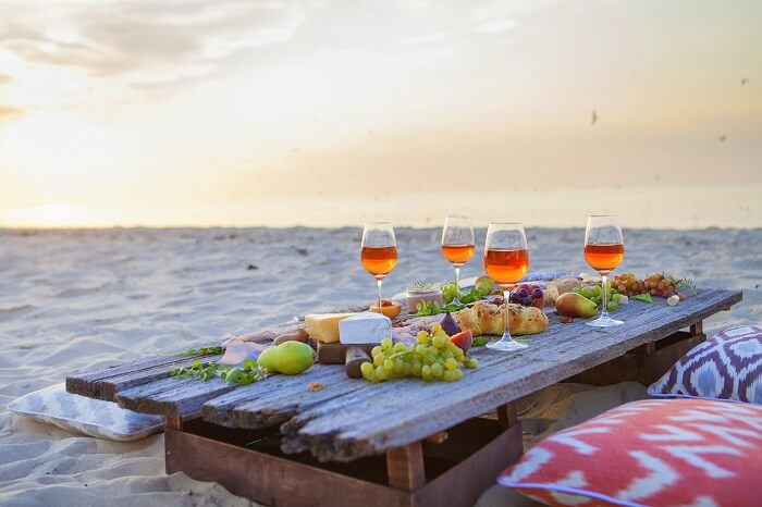Have dinner on the beach bora bora