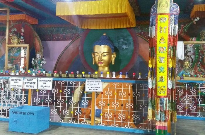 kuldeep manali honeymoon trip: buddha statue in monastery