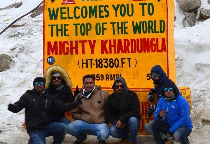 friends at ladakh's highest point