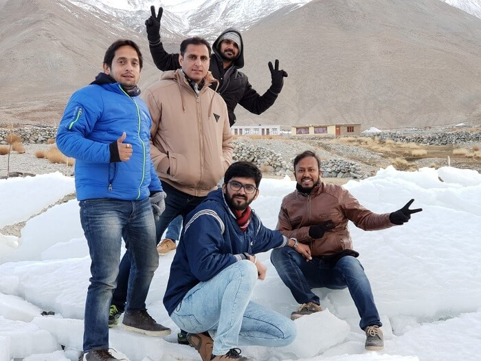 friends enjoying in snow